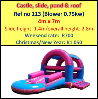 Castle, slide, pond & roof #113