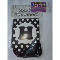 3054 Happy Birthday Banner Black Dots