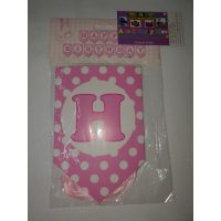 3055 Happy Birthday Banner Pink Dots