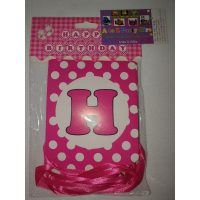 3058 Happy Birthday Banner Hot Pink Dots