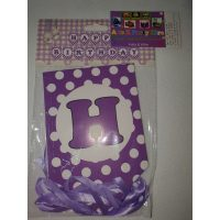 3059 Happy Birthday Banner Purple Dots