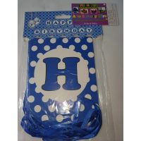 3062 Happy Birthday Banner Dark Blue Dots