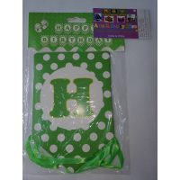 3063 Happy Birthday Banner Green Dots